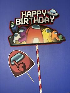 Customizable... Inspired Among Us Cake Topper / Happy Birthday