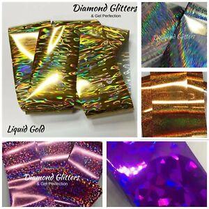 Nail Art Transfer Foil 1m Holographic Metallic Multi Colour Cracked Aurora