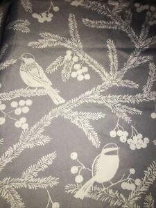 """Nicole Miller Silver Gray White Birds 60""""x84"""" Oblong Cotton Tablecloth"""