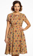 Lindy Bop 'Bretta' Mustard Squirrel Print Vintage Cottagecore Tea Dress BNWT