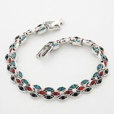 Noble Multi-Color Marquise Cubic Zircon Silver Plated Lady Girl 19 cm Bracelet