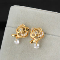 Fashion 18K Yellow Gold Plated Rose Flower Petals Crystal CZ Drop Stud Earrings