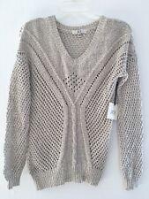 JACK New Women's Ivory Black Crochet V Neck Open Stitch Top Sweater Sz XS S
