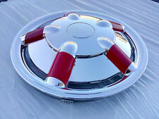 4 Copricerchi auto universali coppa ruota 13'' borchie decorative argento rosse