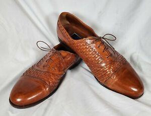 Bragano Cole Haan Men's Brown Woven Wingtip Leather Dress Shoe Italy Sz 10M Nice