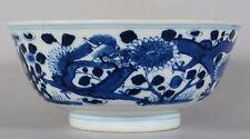 Antique Chinese Qing Porcelain Blue & White Dragon & Flower Bowl