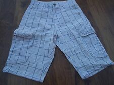 """RIVER ISLAND Men's Black & White Check Ribbed Waist Cargo Shorts W30"""" Worn once"""