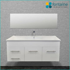 Bathroom Vanity White Gloss Wall Hung Ceramic Recessed Basin 1200 NEW Vanities