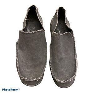 Crocs Mens Santa Cruz Loafers Shoes Gray Grey Canvas Slip-On Frayed Trim 12