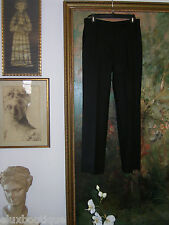CHANEL Wool PANTS Black Slacks Flat Front Classic Trousers 40 8 6 HEM to SUIT