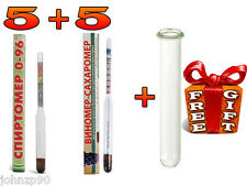 5 ALCOHOL HYDROMETER MOONSHINE WHISKEY + 5 WINE LIQUOR SUGAR 2 scale + FREE TUBE