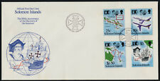 Solomon Islands 723-6a on FDC's Christopher Columbus, Aircraft, Map