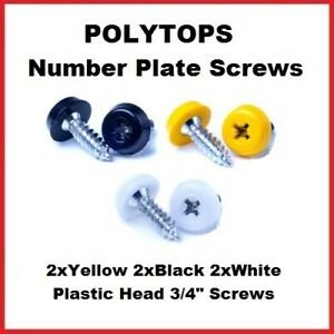 Number Plate Oversized Screws Plastic Top 2x White 2x Black 2x Yellow
