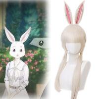 Beastars Haru Cosplay Wig Long Beige Mixed White Hair+Bunny Rabbit Ears