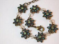 Dainty Gold tone Green Rhinestone Flower Adjustable Bracelet 4b 86