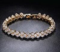 18K REAL GOLD FILLED MADE WITH SWAROVSKI CRYSTALS TENNIS CHAIN BRACELET