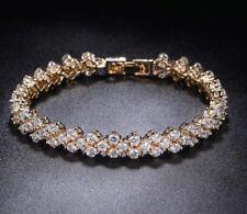 18K Real De Oro Lleno Hecho con Cristales de Swarovski Cadena Pulsera de tenis