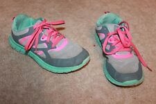 DANSKIN NOW Girls' Youth Size 3 ATHLETIC SHOES (Gray/Pink/Green) GUC