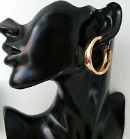 Beautiful 4cm gold tone shiny plain chunky thick wide square tube hoop earrings