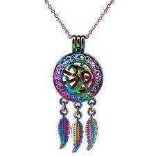 C704 Ohm Wisdom Hindu Peace Yoga Pearl Cage Locket Necklace - Rainbow Color