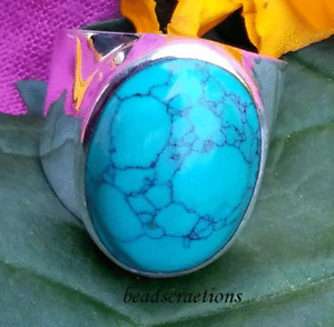 Natural Turquoise Gemstone 925 Sterling Silver Men's Ring For Christmas Gift