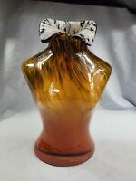 "Murano Style Hand Blown Art Glass Female Torso Chest Bust Vase 11.5"" x 8"" EUC"