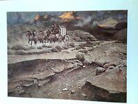 "Frank McCarthy, ""BLEAK DAWN"",--Cowboy- Horses -Western,-9 x 11 Art Print"