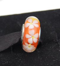 "Genuine Pandora Murano Glass Bead ""Orange Tropical Flower"" 791624 - retired"