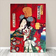 "Vintage Japanese Geisha Art ~ CANVAS PRINT 32x24"" ~ Ukiyo-e Kunichika #014"