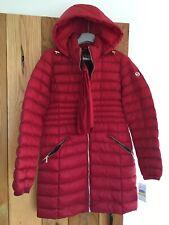 Womens Michael Kors Long Packable Mac Coat Jacket Crimson Red Medium M NEW