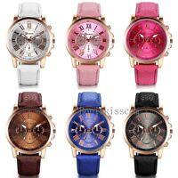 Women's Roman Numerals Leather Band Gold Tone Dial Analog Quartz Wrist Watch