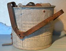 Antique wringer Wheeling Galvanized Mop Bucket Wooden Dowels colllectible