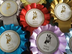 10 X 1 Tier Pretty Horse Head Well Done Rosettes in quality single faced satin