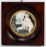 Antique French Miniature Portrait Painting of Diana or Woman at her Bath, Frame