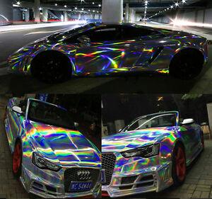 Black Laser holographic chrome Vinyl Car Body Wrap Film Car Styling decor DIY