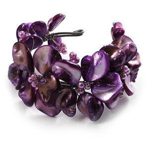 Bright Purple Floral Shell & Simulated Pearl Cuff Bracelet (Silver Tone)