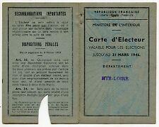 CARTE D ELECTEUR  MAIRIE D YSSINGEAUX 1945