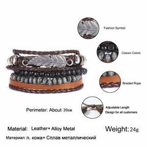 5/6pcs Fashion Mens Punk Leather Wrap Braided Wristband Cuff Bangle Bracelet New