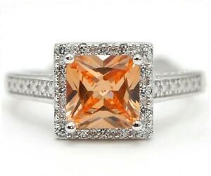 3CT Padparadscha Sapphire & Topaz 925 Sterling Silver Ring Sz 8 UC16