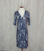Mlle Gabrielle Womens Faux Wrap Dress Sz M Med Elbow Sleeve Career Blue V Neck