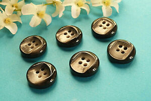 """219CBIS/Stunning Buttons """" Smoke """" Black And Grey Lot 6 Buttons Ep. Vintage"""