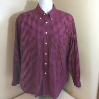 Brooks Brothers 346 Mens Original Polo Shirt All Cotton Large Red Blue Check FS!