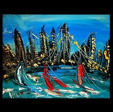 CITYSCAPE  ART CANVAS IMPRESSIONIST IMPASTO ARTIST  Original Oil Painting  9P80