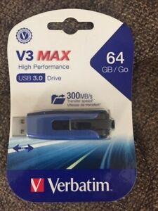 Verbatim V3 Max Usb 3.0 Flash Drive, 64 Gb, Blue new sealed