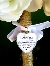 Flower Girl Gift Bouquet Charm For Wedding Wand Posy Love Heart Personalised