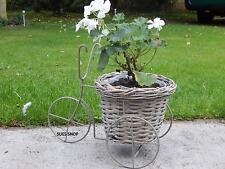 Willow Wicker Bike Bicycle Tricycle Garden Planter Pot Flower Arranging Grey NEW