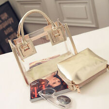 Women's Summer Jelly Candy Clear Transparent Handbag Tote Shoulder Beach Bag