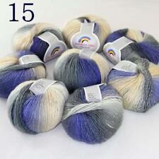 Sale Colorful Rainbow Scarf Shawl Cashmere Wool Hand Knit Yarn 8 Skeins x50g 15