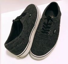 rare VANS Off The Wall Shoes Men 8 Women's 9.5 Black Grey Knit Micro Plaid TB9C