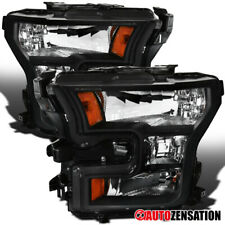 For 2015-2017 Ford F150 Pair Black Clear Headlights Lamps Replacement Left+Right